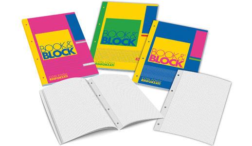 """BLOCCO COLLATO """"BOOK&BLOCK"""" A4 FORI RINFORZATI - QUADRI 5 MM"""