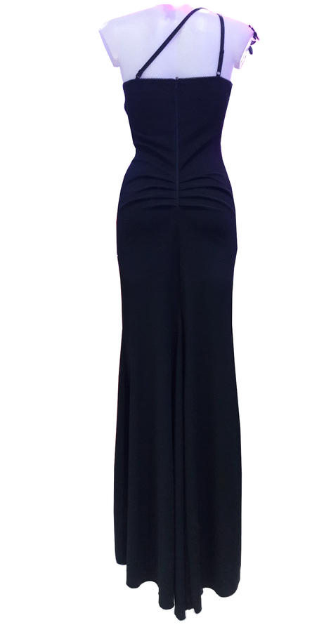 0609 EVENING DRESS ONE SHOULDER WITH SPLIT AND MACRAME'