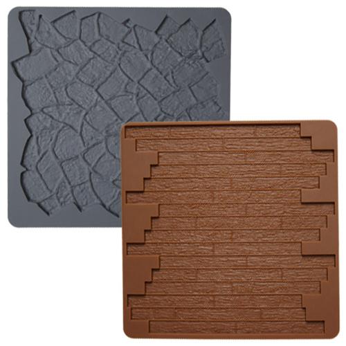 Set 2 tappeti silicone effetto mattoni e ciotoli Wilton