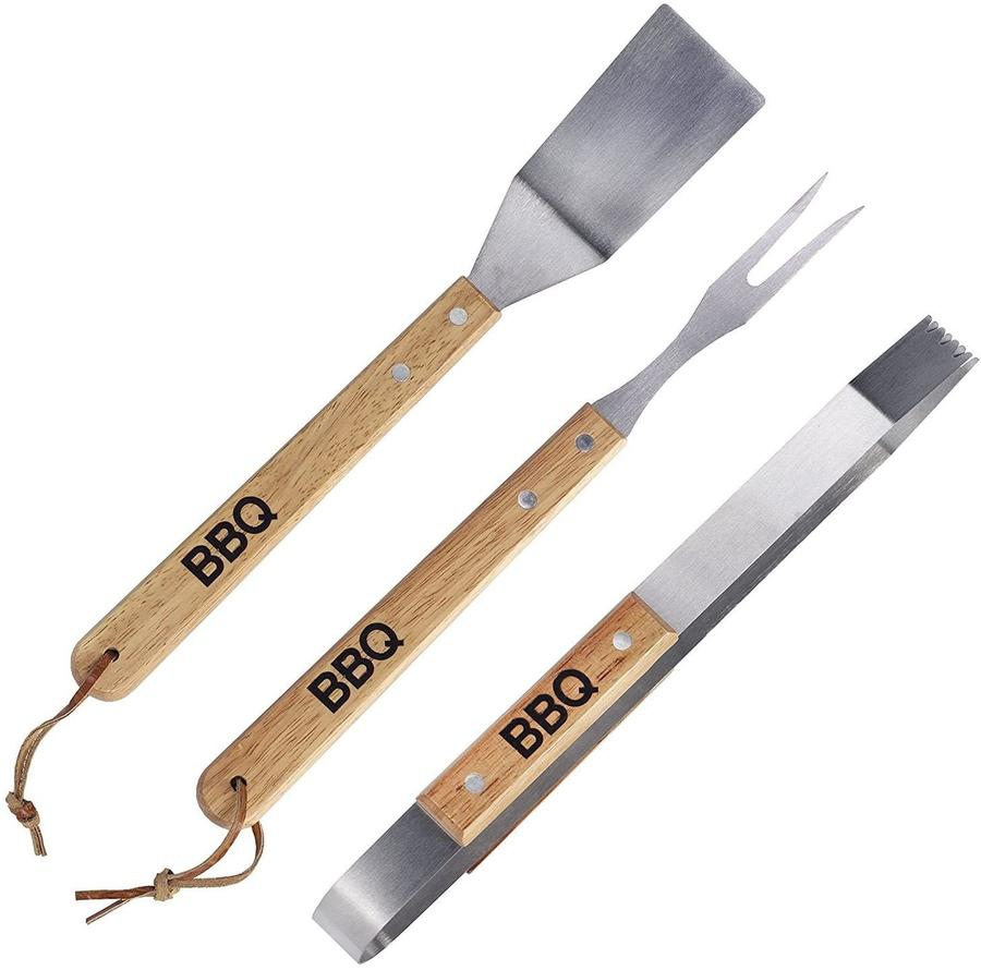 Posate per Barbecue Set 3 pz in legno di Quercia - Stainless 2040760