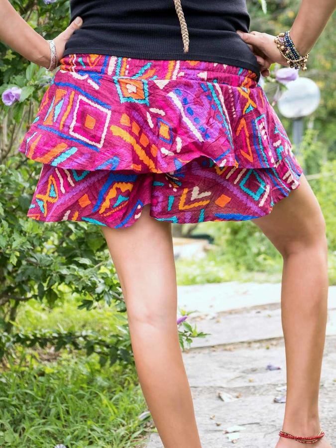 Falda-pantalón corta con volantes Alka - lila africana