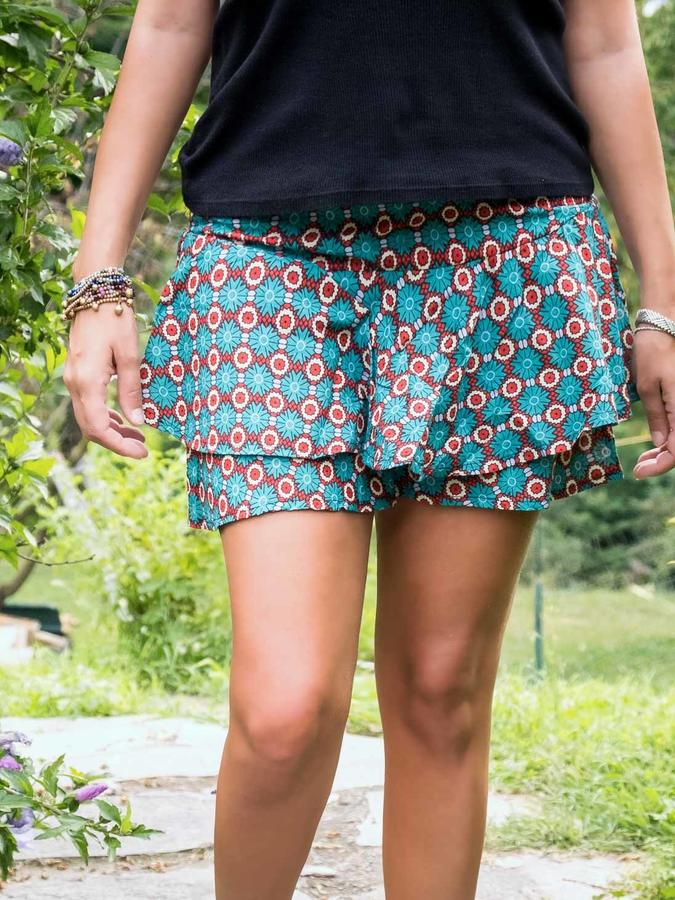 Short pant-skirt with ruffles Alka - turquoise white red