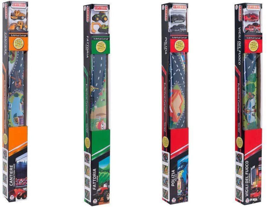Tappeto a tema 80 x 70 cm e 2 veicoli gioco automobiline - Globo 36960 - 3+ anni