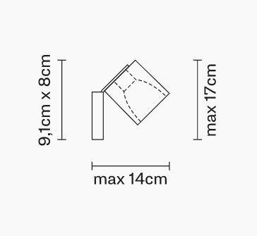 Lampada da Parete/Soffitto Cubetto di Fabbian con Diffusore Orientabile in Cristallo Sabbiato Internamente e Struttura Ramata - Offerta di Mondo Luce 24