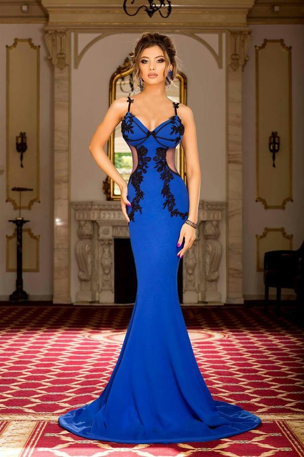 0234 ELECTRIC BLUE CREPE SIREN DRESS WITH BLACK MACRAME AND NECK BACK