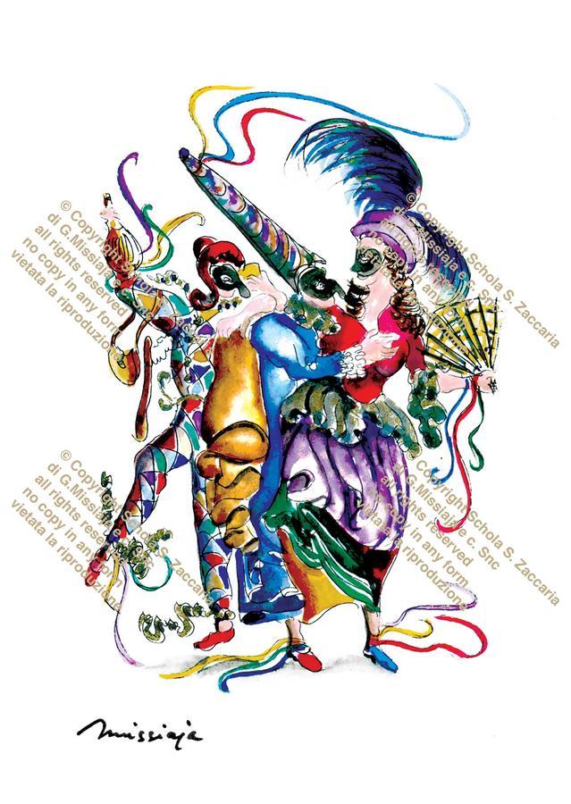 """Interpretazione da """"Pulcinella innamorato"""" di Domenico Tiepolo sec. XVIII° (1979)"""