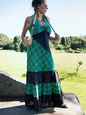 Long dress woman Aparna bicolor flounces - green / dark gray