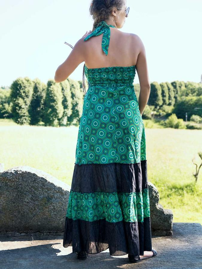 Long dress woman Aparna bicolor flounces - green / dark gray