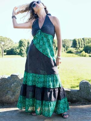Long dress woman Aparna bicolor flounces - dark gray / green