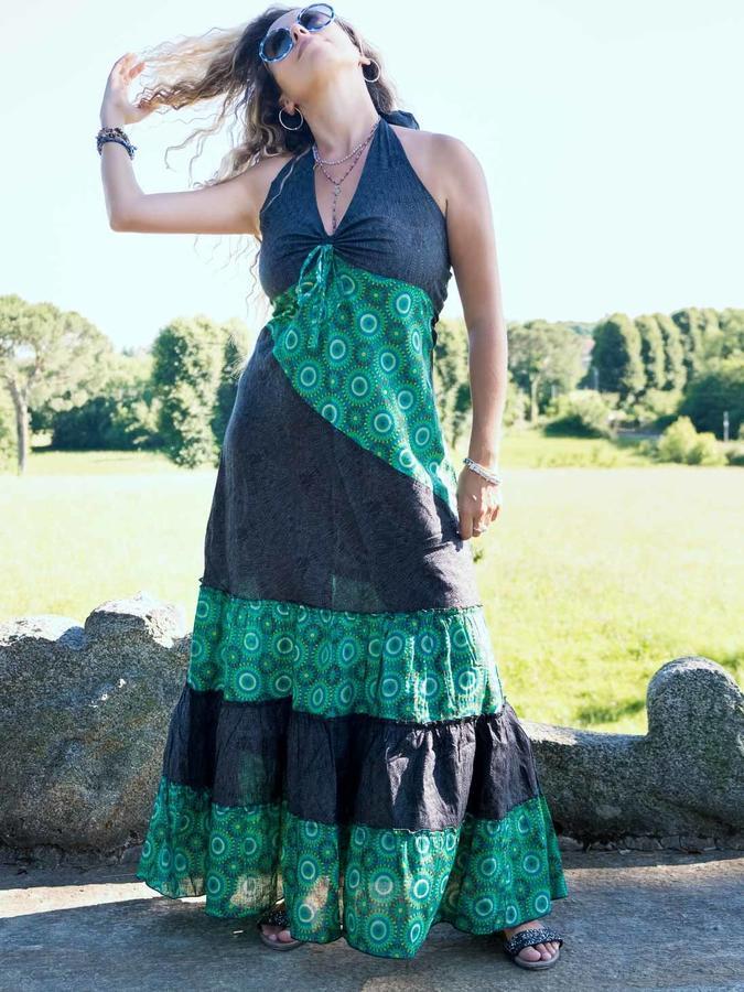 Long dress woman Aparna bicolor flounces - dark gray / green