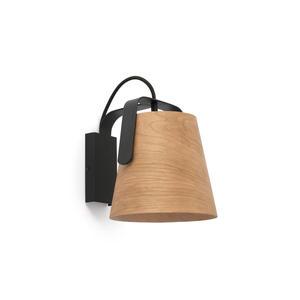 STOOD LAMPADA DA PARETE NERA + LEGNO E27 MAX 20W