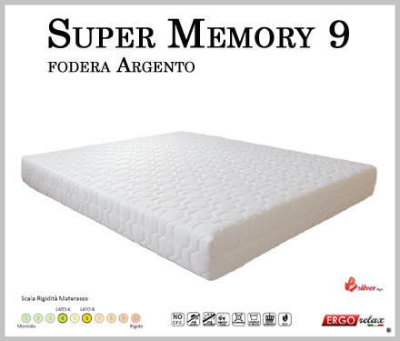 Materasso Memory Mod. Super Memory 9 Matrimoniale da Cm 160x190/195/200  Argento Sfoderabile Altezza Cm. 23 - Ergorelax
