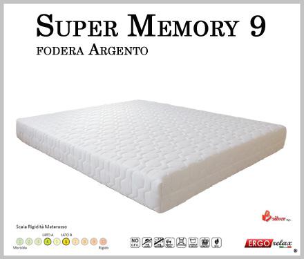 Materasso Memory Mod. Super Memory 9 Singolo da Cm 80x190/195/200 Argento Sfoderabile Altezza cm. 23 - Ergorelax
