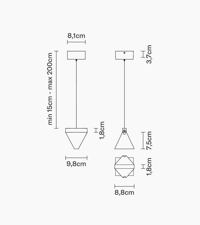 Lampada a Sospensione Tripla di Fabbian con Diffusore in Cristallo Trasparente e Struttura in Alluminio, Varie Finiture - Offerta di Mondo Luce 24