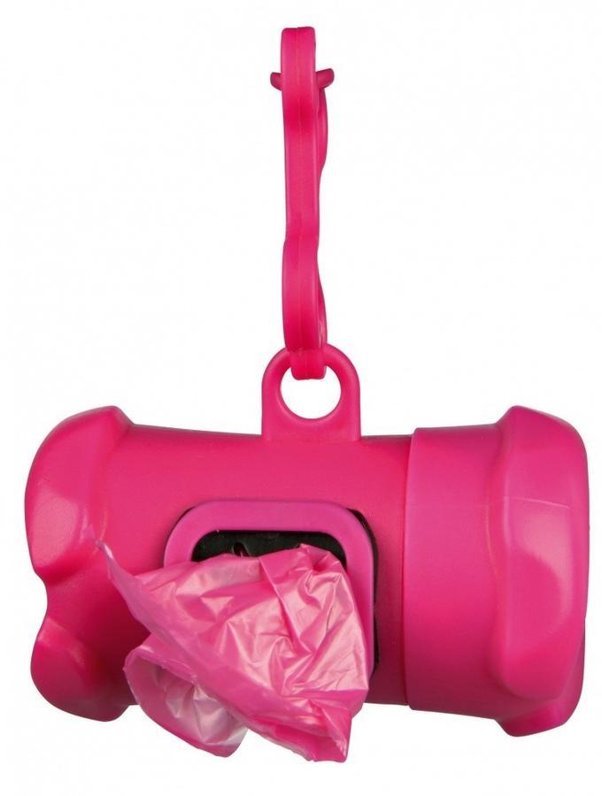 Trixie Osso Dispenser Distributore di Sacchetti Igienici Fucsia + Rotolo Omaggio
