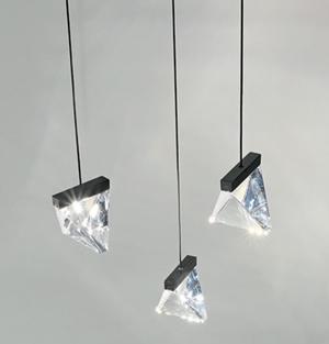 Lampada a Sospensione Tripla di Fabbian a 3 Luci con Diffusori in Cristallo Trasparente e Struttura in Alluminio, Varie Finiture - Offerta di Mondo Luce 24