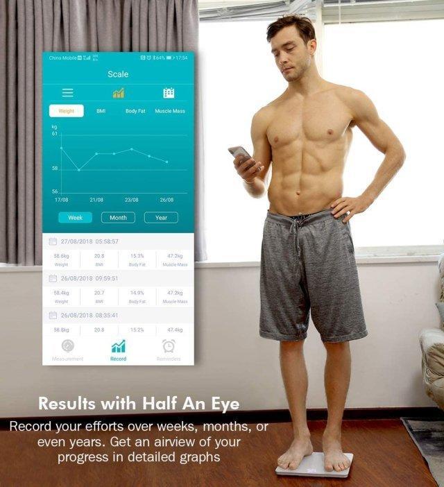 Bilancia Pesa Persona Digitale Bluetooth impedenziometrica con App per iOS e Android, Peso Corporeo, Massa Grassa, Massa Muscolare