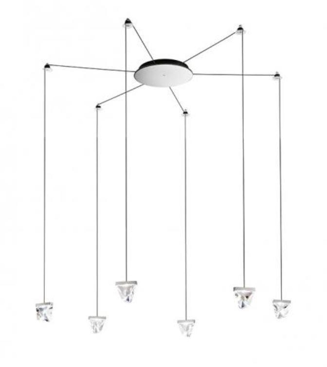 Lampada a Sospensione Tripla di Fabbian a 6 Luci con Diffusori in Cristallo Trasparente e Struttura in Alluminio, Varie Finiture - Offerta di Mondo Luce 24