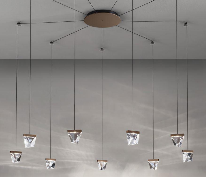 Lampada a Sospensione Tripla di Fabbian a 9 Luci con Diffusori in Cristallo Trasparente e Struttura in Alluminio, Varie Finiture - Offerta di Mondo Luce 24