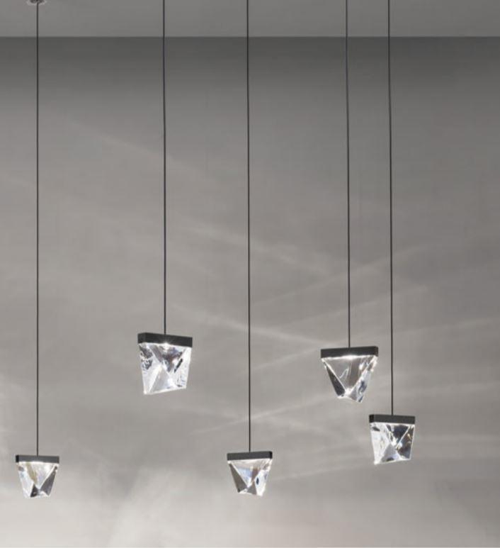 Lampada a Sospensione Multipla Tripla di Fabbian su Misura con Diffusori in Cristallo Trasparente e Struttura in Alluminio, Varie Finiture - Offerta di Mondo Luce 24