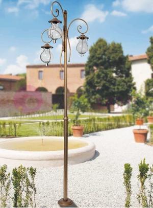 Lampione per Esterno Bacco di Febo in Ottone a 3 Luci e Vetro Soffiato Goccia Fiorentina, Varie Finiture - Offerta di Mondo Luce 24