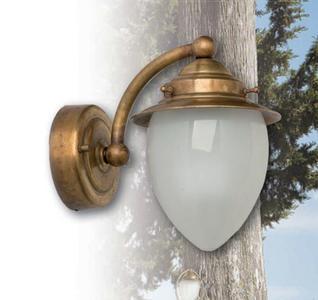Applique per Esterno Pico di Febo in Ottone e Vetro Satinato Sabbiato Internamente, Varie Finiture - Offerta di Mondo Luce 24