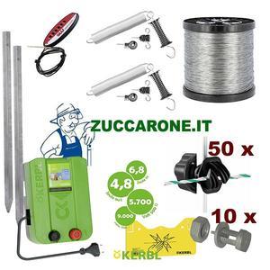 Kit recinto elettrico per cinghiali per 500 metri a corrente per tondini di ferro