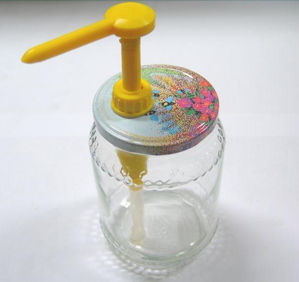 N. 5 Dispenser - dosatore per vaso miele giallo con tappi litografati