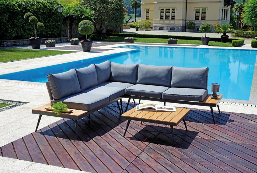 Set angolare per giardino modello CORNER SET MALMO in resin wood e alluminio con cuscini inclusi SET 131