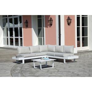 Salotto da giardino angolare CORNER SET BERGEN struttura in alluminio bianco SET 132
