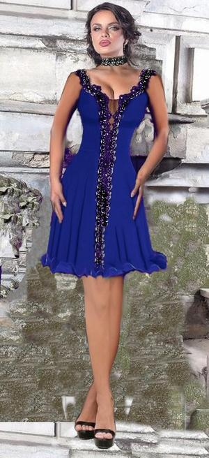 0616 DRESS BELL SHORT VERSION IN ELASTIC CREPE AND MACRAME LACE