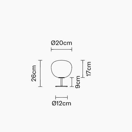 Lampada da Tavolo con Stelo Lumi Mochi di Fabbian con Struttura in Metallo o Poliestere e Diffusore in Vetro Soffiato Bianco Satinato - Offerta di Mondo Luce 24