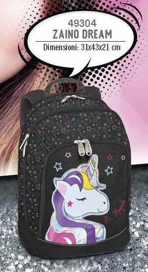 ZAINO DREAM UNICORNO GLITTER NERO