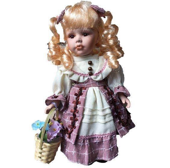 Bambola da Collezione in Porcellana con Capelli Biondi e Cestino con Fiori RF Collection qualità Made in Germany