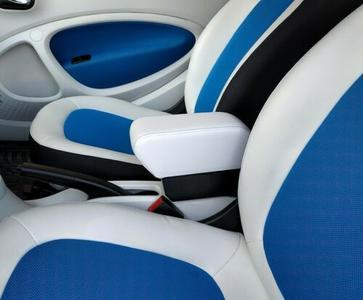 Accoudoir avec porte-objet pour Smart ForTwo - ForFour New en similicuir blanc