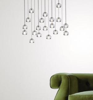 Lampada Multispot Beluga di Fabbian a 20 Luci con Diffusori in Vetro Cristallo Trasparente, Diverse Versioni - Offerta di Mondo Luce 24