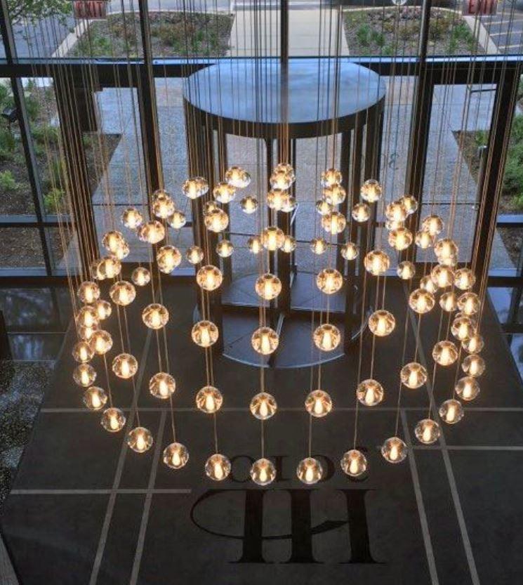 Lampada Multispot Beluga di Fabbian a 30 Luci con Diffusori in Vetro Cristallo Trasparente, Diverse Versioni - Offerta di Mondo Luce 24
