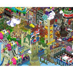 EBOY, STAMPA LAMINATA SU LEGNO 119X84 cm: LONDON