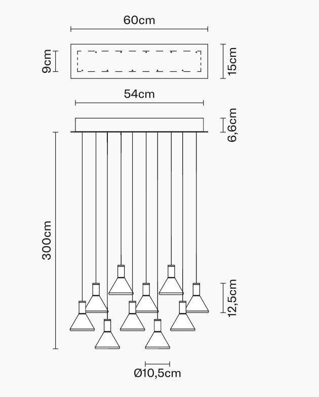 Lampada Multispot Polair di Fabbian a 10 Luci in Alluminio e Diffusore in Vetro Borosilicato Trasparente, Diverse Versioni - Offerta di Mondo Luce 24
