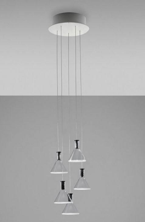 Lampada per Esterno Multispot Polair di Fabbian a 5 Luci in Alluminio e Diffusore in Vetro Borosilicato Trasparente, Diverse Versioni - Offerta di Mondo Luce 24