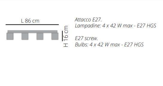 Lampada a Soffitto a Barra Didodado di Emporium a 4 Elementi in PMMA, Varie Finiture – Offerta di Mondo Luce 24