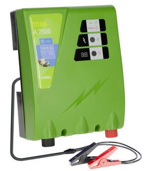 Elettrificatore a 12V per recinto elettrico TITAN A 7500 con doppia uscita a 1,7 j e  5 j