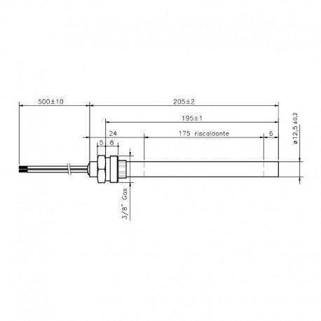 RESISTENZA ELETTRICA 12,5 x 205/195 (350w) STUFE CLAM