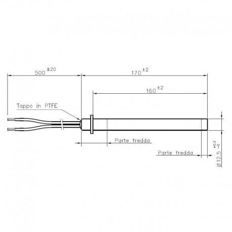 RESISTENZA ELETTRICA 12,5 x 170/160 mm (350 watt) STUFE PALAZZETTI