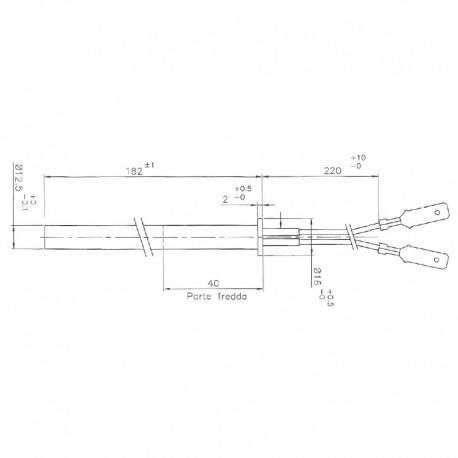RESISTENZA ELETTRICA 12,5 x 182/180 mm (350w) STUFE THERMOROSSI