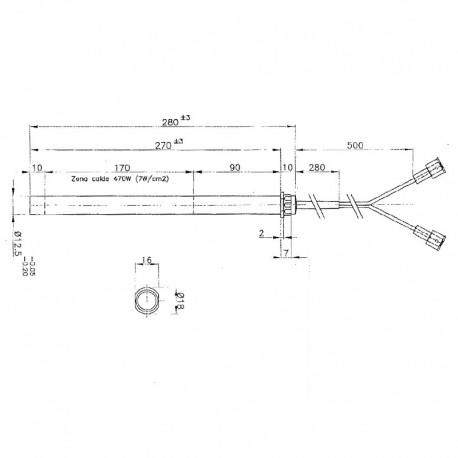 RESISTENZA ELETTRICA 12,5 x 280/270 mm (470w) STUFE EDILKAMIN
