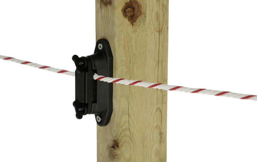 Isolatore per recinto elettrico per bande e fili per linee di recinti ed per angoli