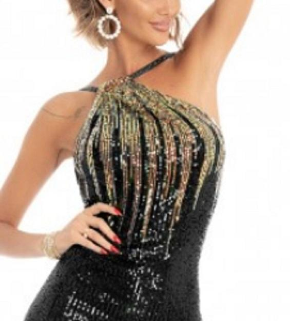 0617 SHORT DRESS IN SHADED BLACK SEQUINS WITH UNLESSED BACK