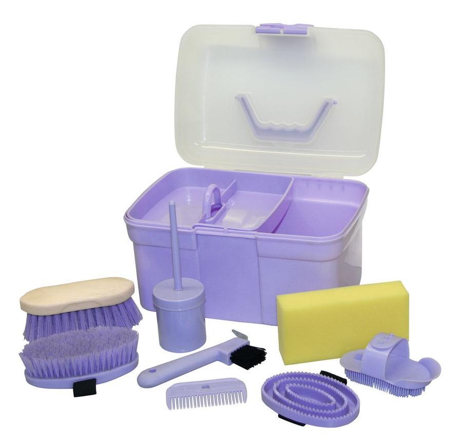 Bauletto Grooming Box colore viola per ragazzi completo di 8 accessori