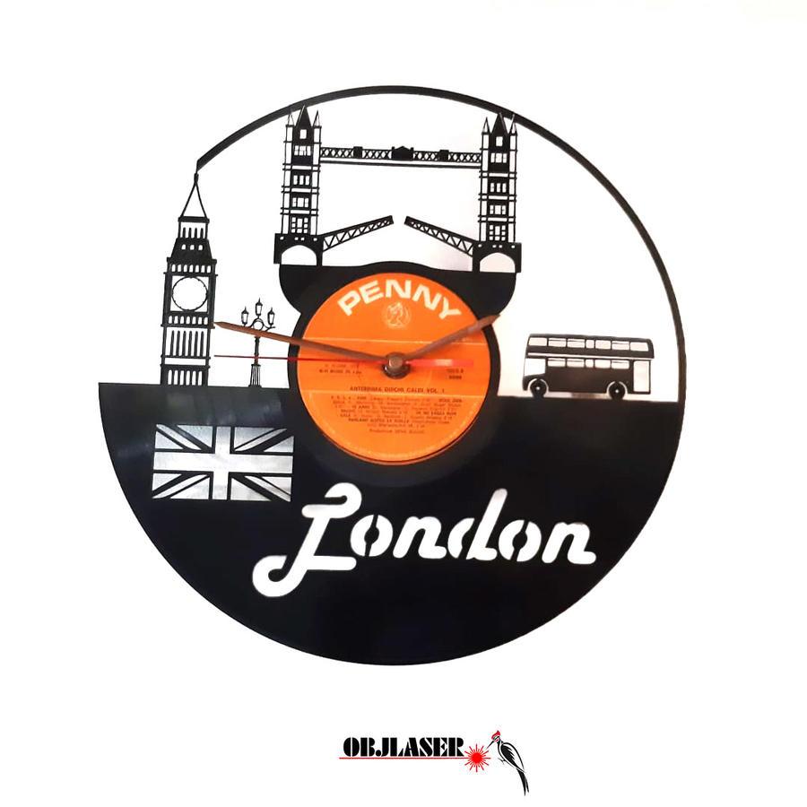 Orologio in vinile 33 giri silhouette Londra